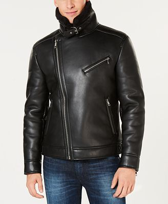 Guess Men S Faux Leather Fleece Lined Asymmetrical Full Zip Moto