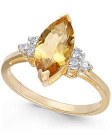 Citrine (1-9/10 ct. t.w.) & Diamond (1/6 ct. t.w.) Ring in 14k Gold