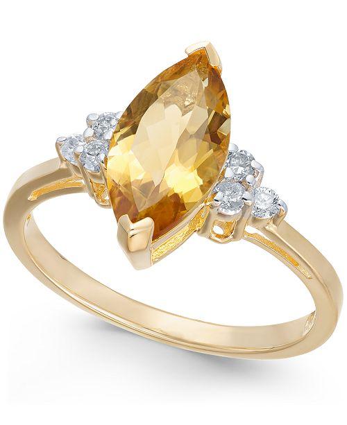 Macy's Citrine (1-9/10 ct. t.w.) & Diamond (1/6 ct. t.w.) Ring in 14k Gold