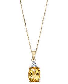 "Citrine (2-3/4 ct. t.w.) & Diamond Accent 18"" Pendant Necklace in 14k Gold"