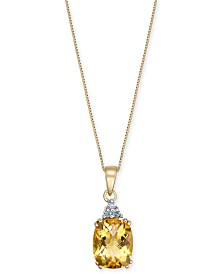 "Citrine (2-3/4 ct. t.w.) & Diamond Accent 18"" Pendant Necklace in 14k Gold"