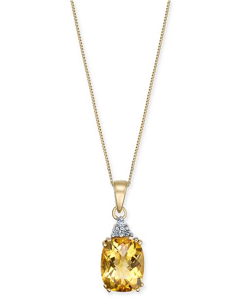 "Macy's Citrine (2-3/4 ct. t.w.) & Diamond Accent 18"" Pendant Necklace in 14k Gold"