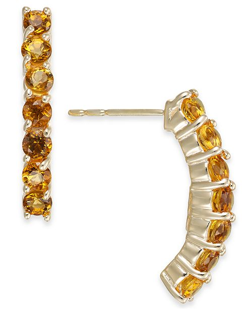 Macy's Citrine Curved Drop Earrings (1-1/8 ct. t.w.) in 14k Gold