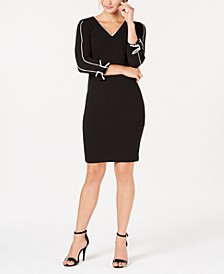 V-Neck Piped Sheath Dress