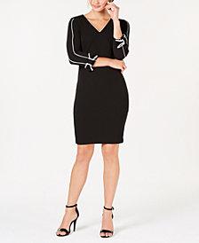Calvin Klein Petite V-Neck Piped Sheath Dress