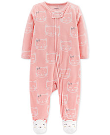 Carter's Baby Girls Cat-Print Footed Coverall