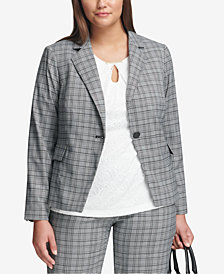 Calvin Klein Plus Size Plaid Single-Button Blazer