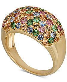 Multi-Gemstone Pavé Statement Ring (2-1/2 ct. t.w.) in 14k Gold-Plated Sterling Silver