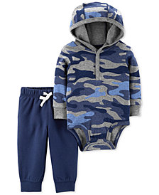 Carter's Baby Boys 2-Pc. Cotton Hooded Camo-Print Bodysuit & Jogger Pants Set