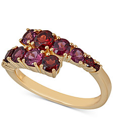 Rhodolite Garnet (3/4 ct. t.w.) & Rhodolite (1-1/10 ct. t.w.) Bypass Statement Ring in 14k Gold-Plated Sterling Silver