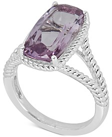 Amethyst Rope Frame Statement Ring (4 ct. t.w) in Sterling Silver (Also in Mystic Quartz & Blue Topaz)