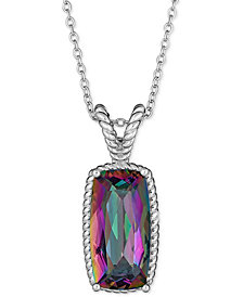 "Mystic Quartz Rope-Frame 18"" Pendant Necklace (6 ct. t.w.) in Sterling Silver"