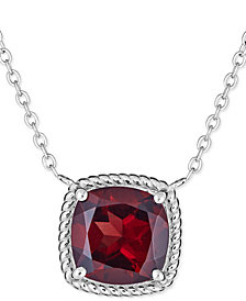 "Rhodolite Garnet Rope-Frame 16"" Pendant Necklace (4 ct. t.w.) in Sterling Silver (Also in Mystic Topaz)"