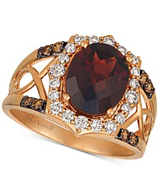 Rhodolite Garnet (3-1/5 ct. t.w.) & Diamond (1/2 ct. t.w.) Ring in 14k Rose Gold