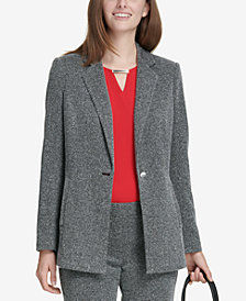 Calvin Klein One-Button Birdseye Blazer