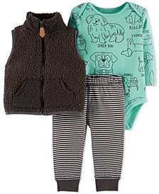 Carter's Baby Boys 3-Pc. Dog-Print Bodysuit, Vest & Jogger Pants Set