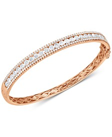 Swarovski Zirconia Bangle Bracelet in 18k Rose Gold-Plated Sterling Silver
