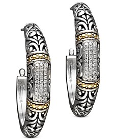 Balissima by EFFY® Diamond Hoop Earrings (1/4 ct. t.w.) in 18k Gold and Sterling Silver