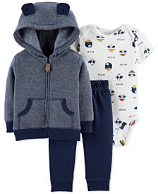 Carter's Baby Boys 3-Pc. Striped Hoodie, Bodysuit & Pants Set
