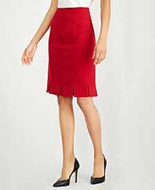 Kasper Pleated Stretch Crepe Skirt, Regular & Petite