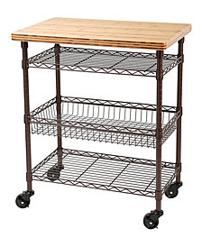 Kitchen Work Table Cart with Bamboo Top
