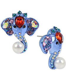Betsey Johnson Blue-Tone Multi-Stone & Imitation Pearl Elephant Button Earrings