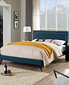 Virginia King Fabric Platform Bed with Round Splayed Legs