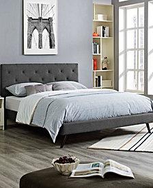 Tarah King Fabric Platform Bed with Round Splayed Legs