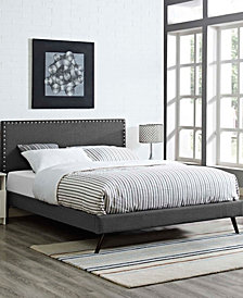 Macie King Fabric Platform Bed with Round Splayed Legs