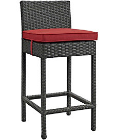 Modway Sojourn Outdoor Patio Sunbrella® Bar Stool in Canvas Red