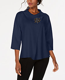 JM Collection Wrap-Front Brooch Blazer, Created for Macy's