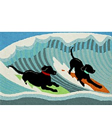Liora Manne Front Porch Indoor/Outdoor Surfing Dogs Ocean 2' x 3' Area Rug