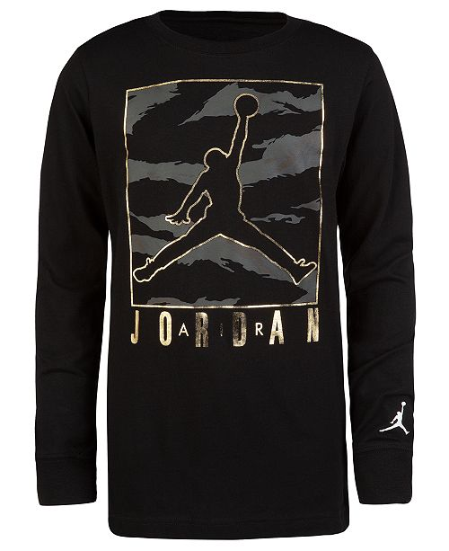 on sale 1f1f5 186d9 Jordan Big Boys Camo-Print Jumpman Graphic Cotton T-Shirt