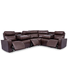 Oaklyn 6-Pc. Leather Sectional with 3 Power Recliners, Power Headrests, USB Power Outlet & 2 Drop Down Tables