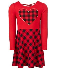 Epic Threads Super Soft Little Girls Plaid Heart Dress, Created for Macy's