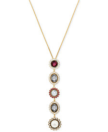 "Swarovski Gold-Tone Crystal & Imitation Pearl Pendant Necklace, 14-7/8"" + 2"" extender"