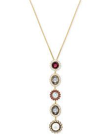 "Swarovski Gold-Tone Crystal & Imitation Pearl Pendant Necklace, 14-7/8"" + 2"" extender"