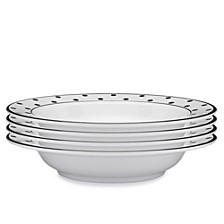 Moonbeam Dots Black Melamine 4-Pc. Pasta Bowl Set
