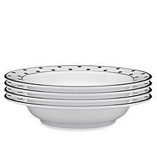 Q Squared Moonbeam Dots Black Melamine 4-Pc. Pasta Bowl Set