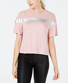 Material Girl Juniors' Striped Sheer-Inset Top, Created for Macy's