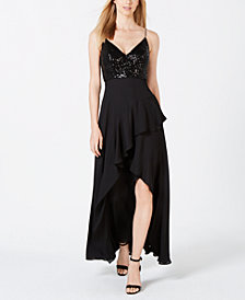 Calvin Klein Sequin-Top Chiffon-Skirt Dress