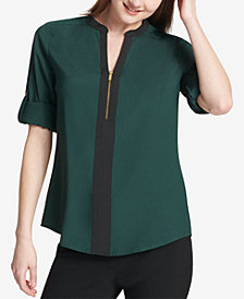 Calvin Klein Two-Tone Zip Blouse