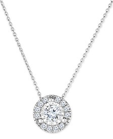 "TruMiracle™ Diamond Halo 18"" Pendant Necklace (1/2 ct. t.w.) in 14k White Gold"