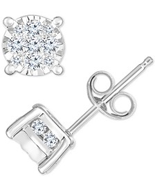 Diamond Cluster Stud Earrings (1/2 ct. t.w.) in 14k White Gold