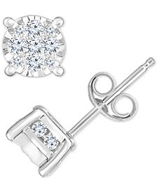 TruMiracle® Diamond Cluster Stud Earrings (1/2 ct. t.w.) in 14k White Gold