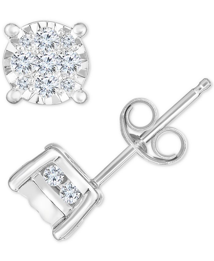 TruMiracle - Diamond Cluster Stud Earrings (1/2 ct. t.w.) in 14k White Gold