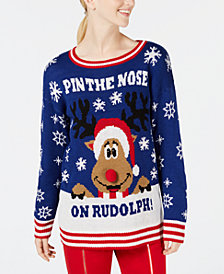 Ultra Flirt by Ikeddi Juniors' Rudolph Reindeer Sweater