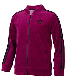 adidas Big Girls Velour Front-Zip Jacket