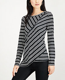 Bar III Striped Asymmetrical Top, Created for Macy's