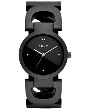 Dkny WOMEN'S CITY LINK BLACK STAINLESS STEEL BANGLE BRACELET WATCH 36MM, CREATED FOR MACY'S